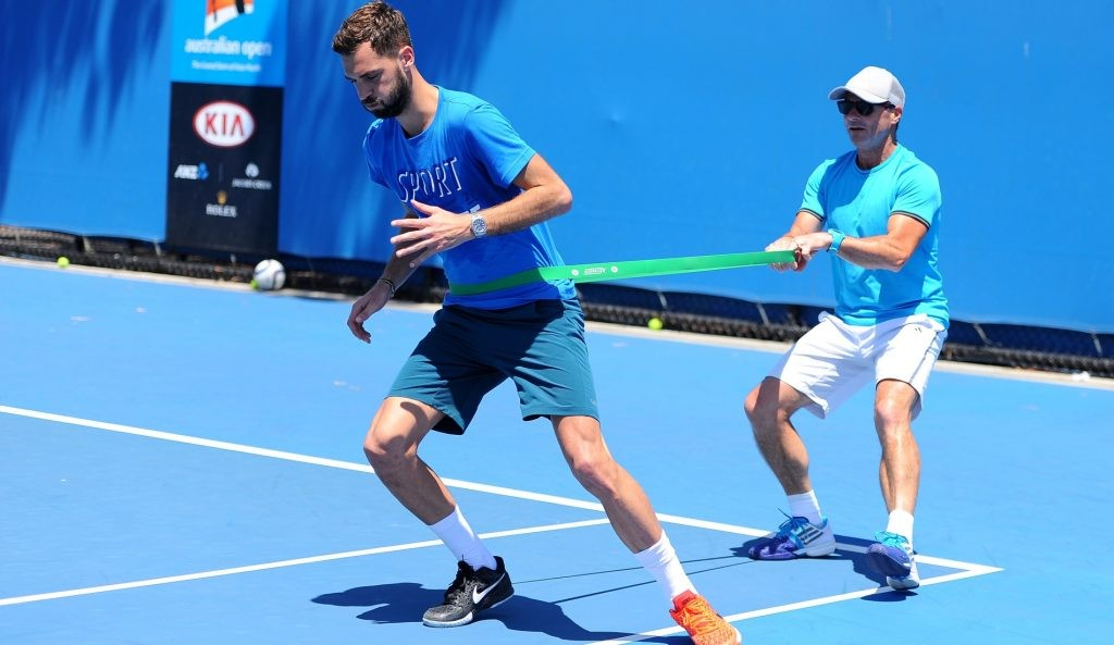 Paul Quétin working with Benoît Paire at the 2016 Australian Open