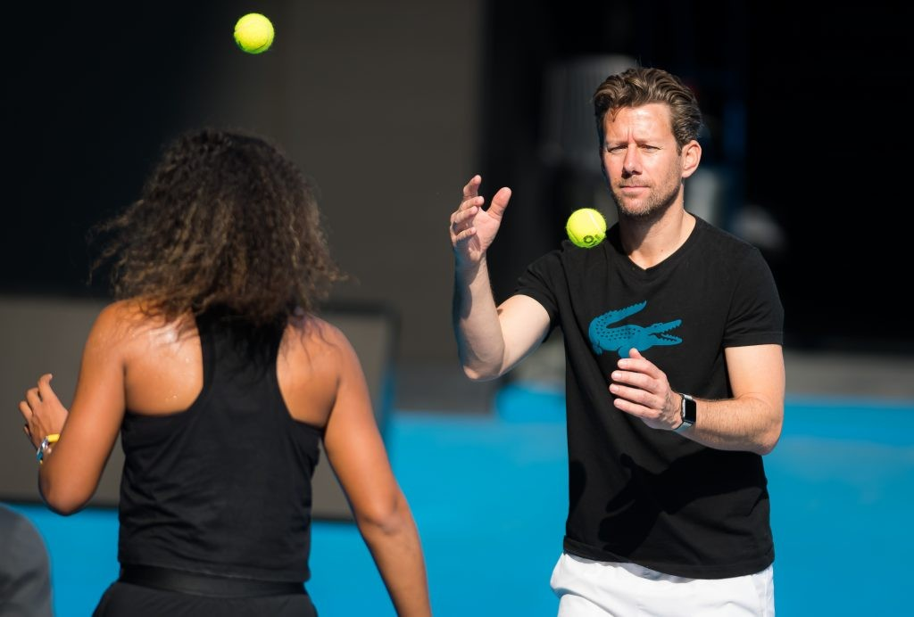 Wim Fissette working with Naomi Osaka during 2020 Australian Open
