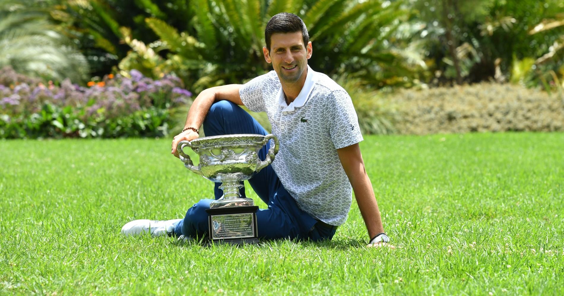 Novak Djokovic after his 2020 Australian Open title