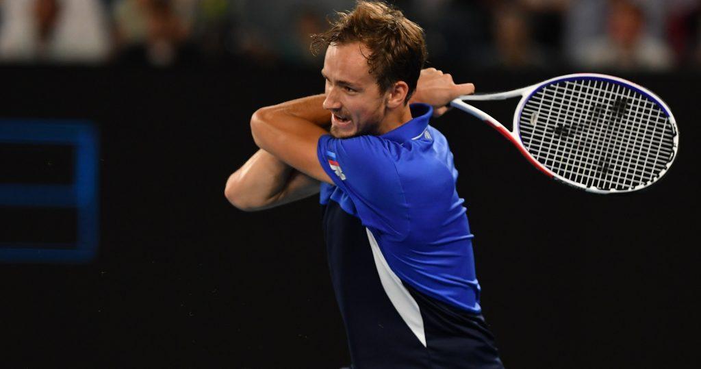 Daniil Medvedev at the 2020 Australian Open with his Tecnifibre racquet