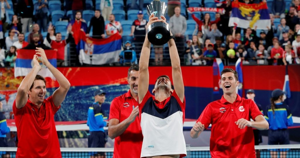Novak Djokovic after Serbia's victory at the 2020 ATP Cup