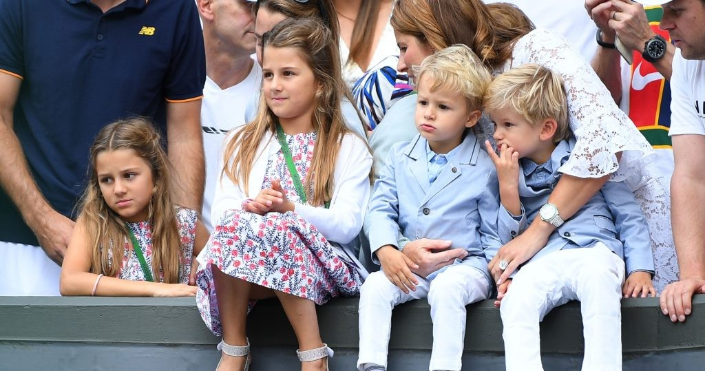 Mirka Federer, Roger Federer's wife, with their four children at Wimbledon's final in 2017