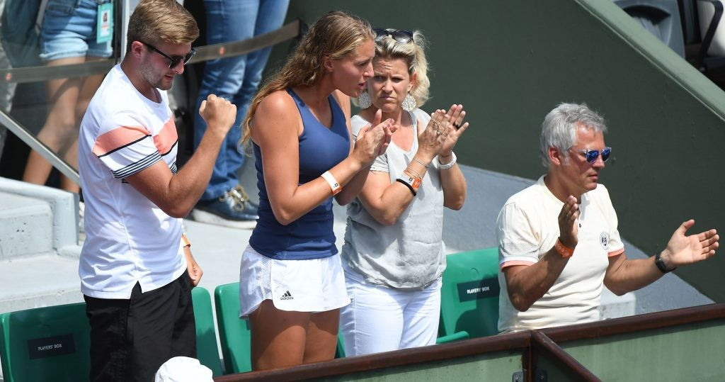 Kristina Mladenovic in Dominic Thiem's box during the 2018 French Open