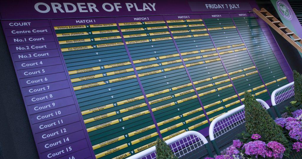 Wimbledon's order of play