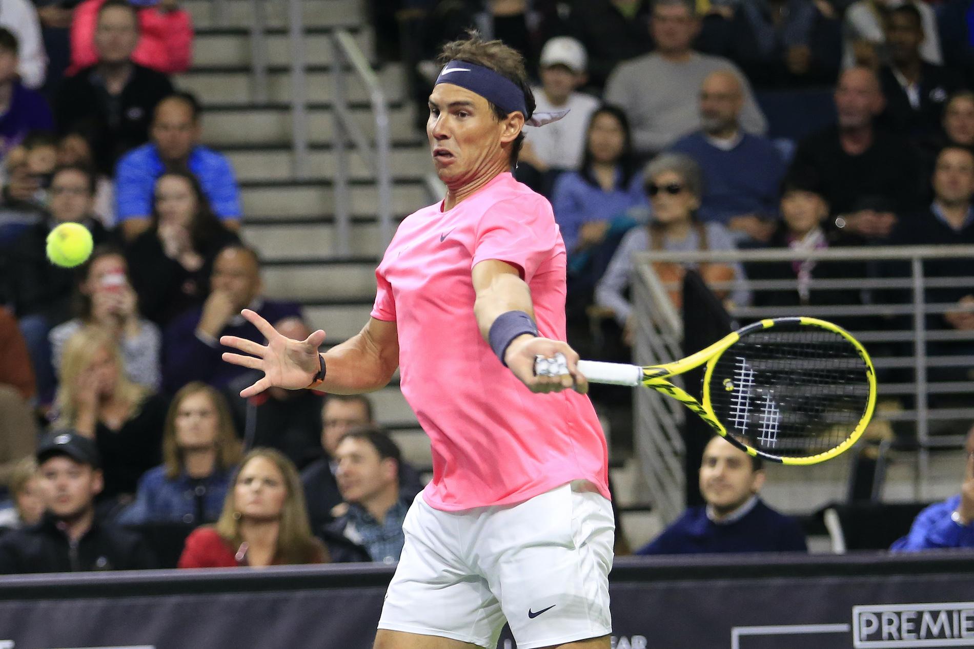 Rafael Nadal hits a forehand stroke
