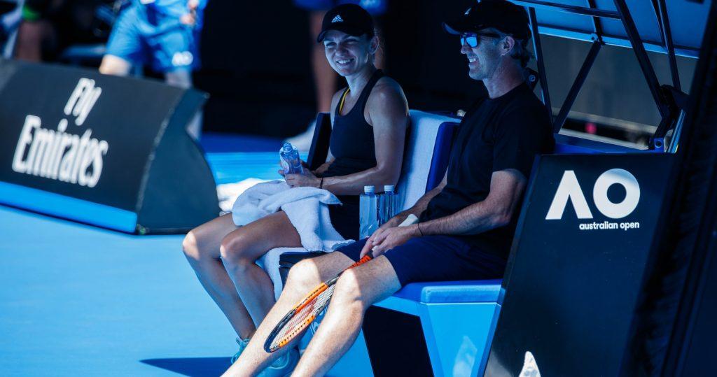Simona Halep with coach Darren Cahill during 2018 Australian Open