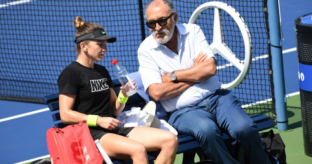 Simona Halep with mentor Ion Tiriac during 2019 US Open