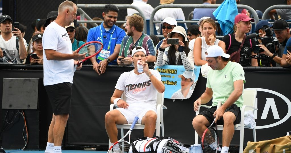 Dominic Thiem surrounded by Thomas Muster and Nicolas Massu at the 2020 Australian Open