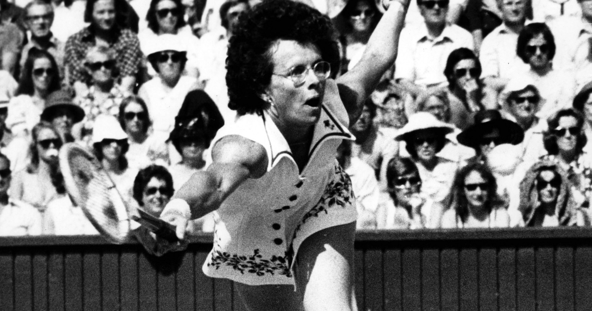 Billie Jean King during 1975 Wimbledon