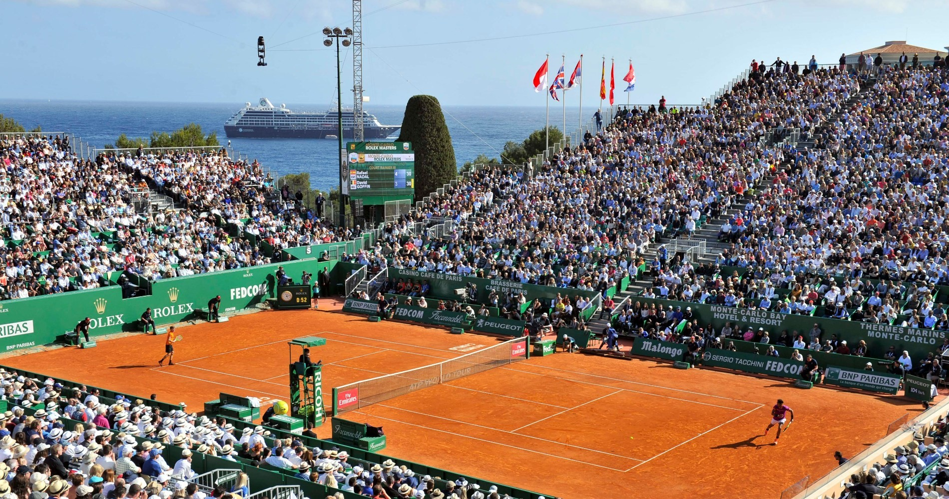 Monte Carlo centre court features a breathtaking view.