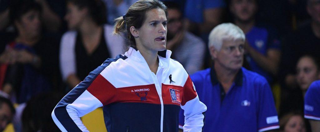Amélie Mauresmo lors d'une rencontre de Coupe Davis