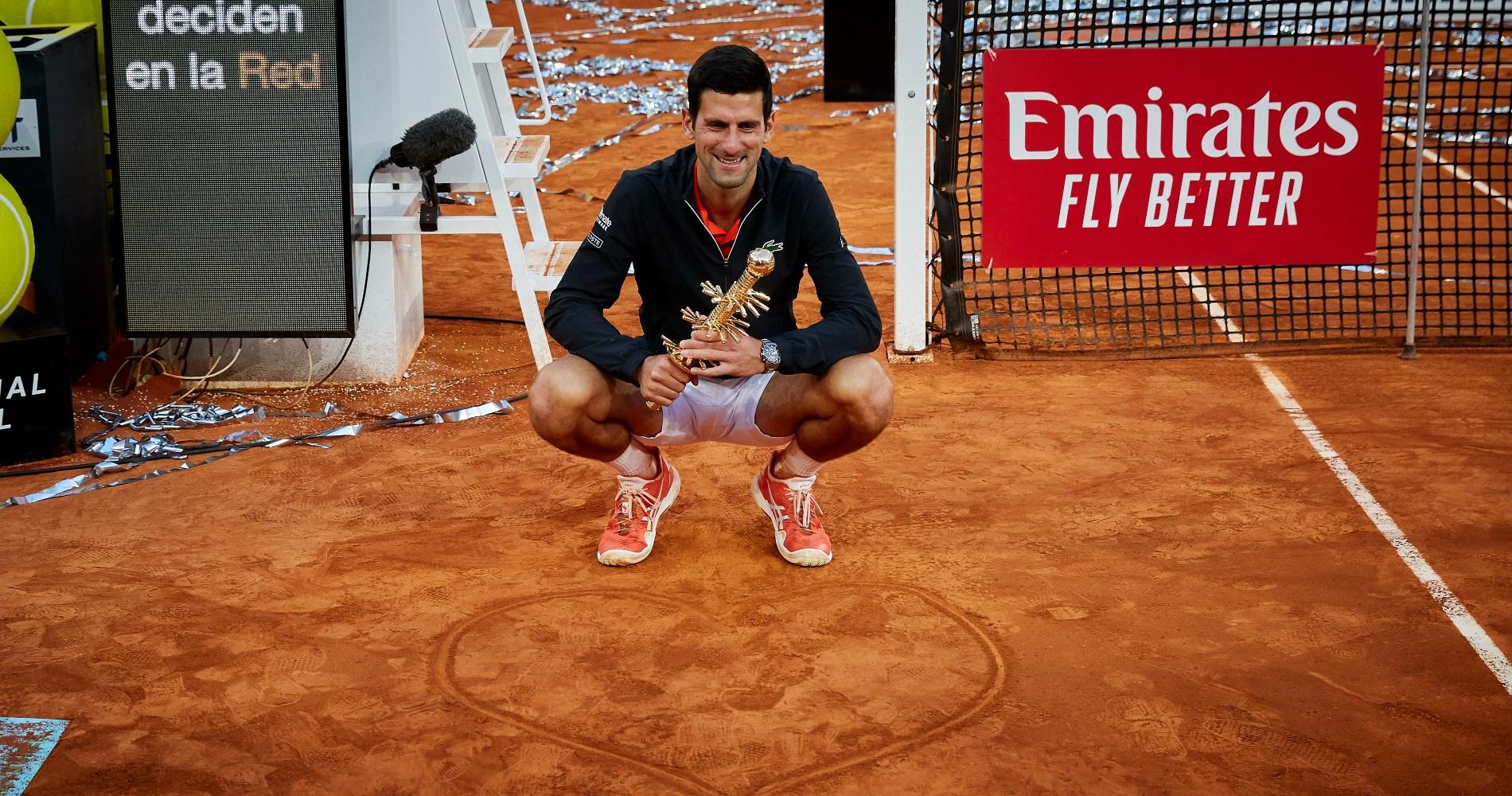 Novak Djokovic won the Mutua Madrid Open in 2019.