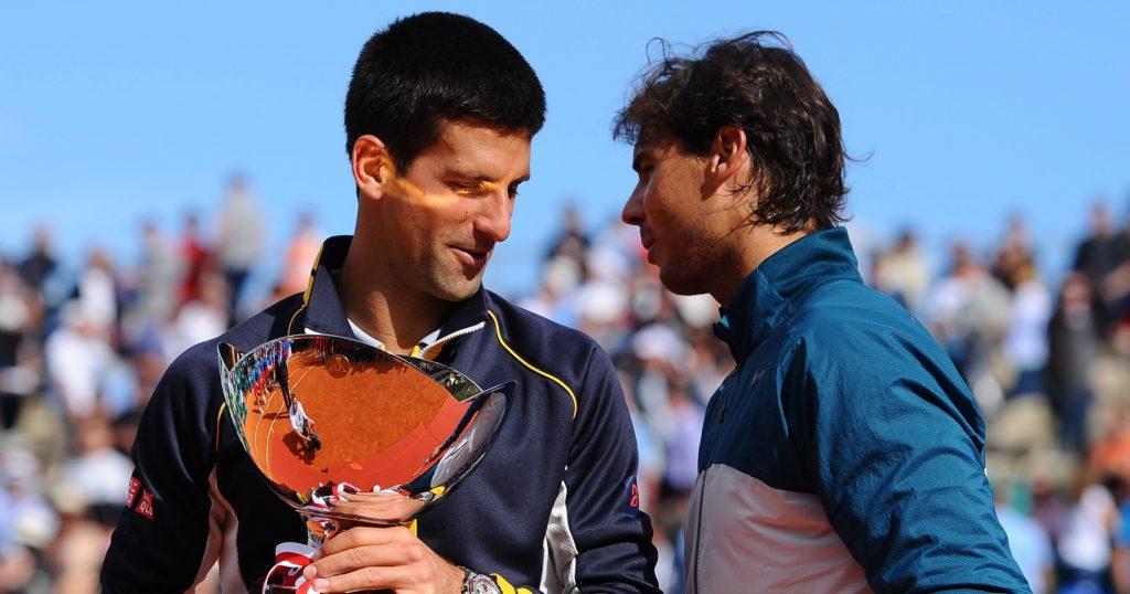 Novak Djokovic, 2013 Monte-Carlo Masters winner, and runner-up Rafael Nadal