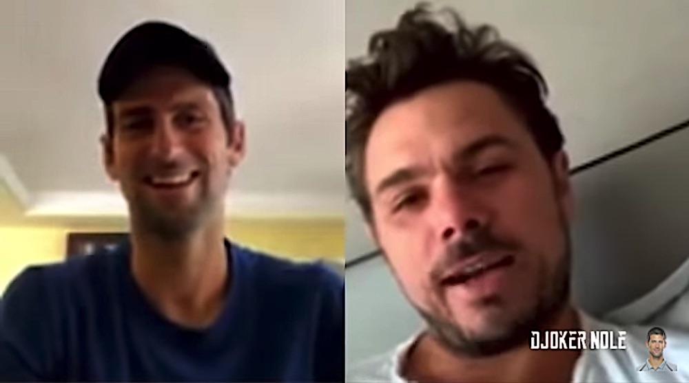 Novak Djokovic and Stan Wawrinka during a live Instagram session on April, 18th