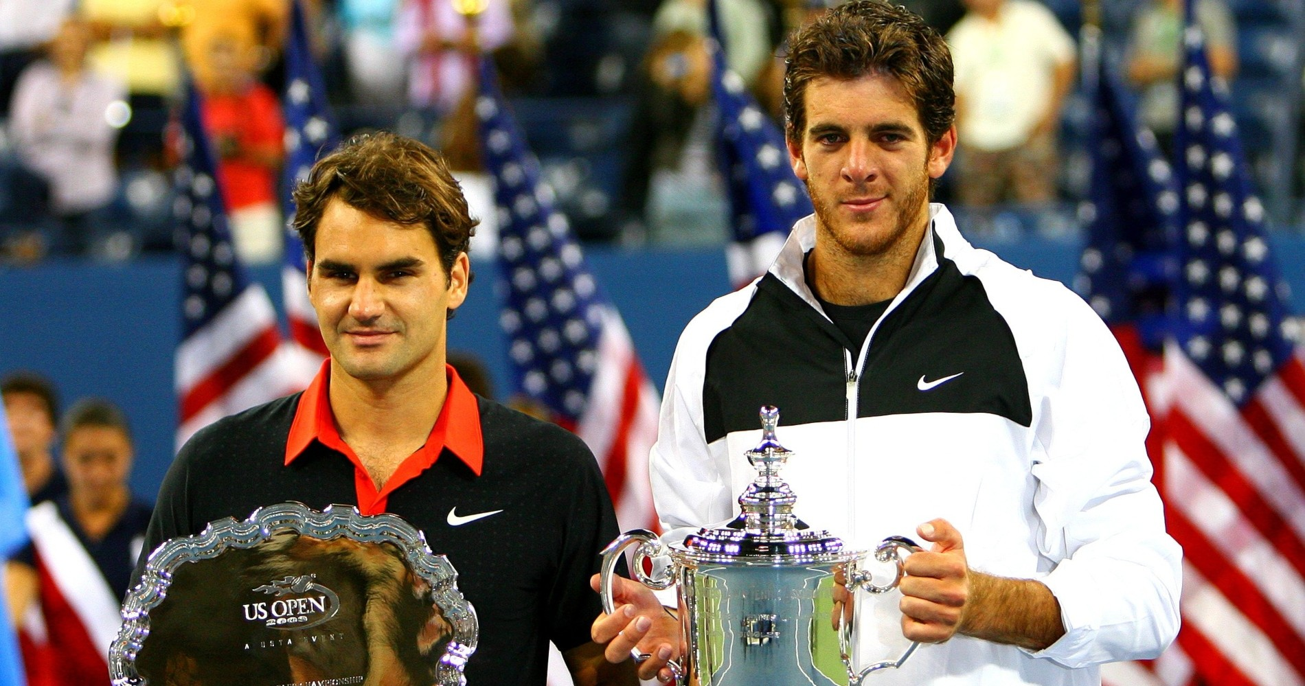 Juan Martin Del Potro and Roger Federer after their 2009 US Open final