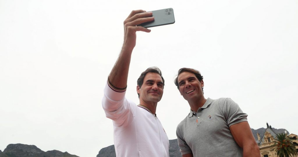 Roger Federer and Rafael Nadal taking a selfie in Cape Town in 2020