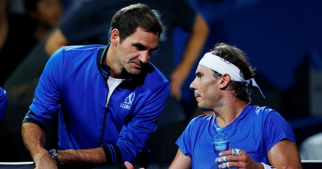 Roger Federer coaching Rafael Nadal during the Laver Cup in 2019