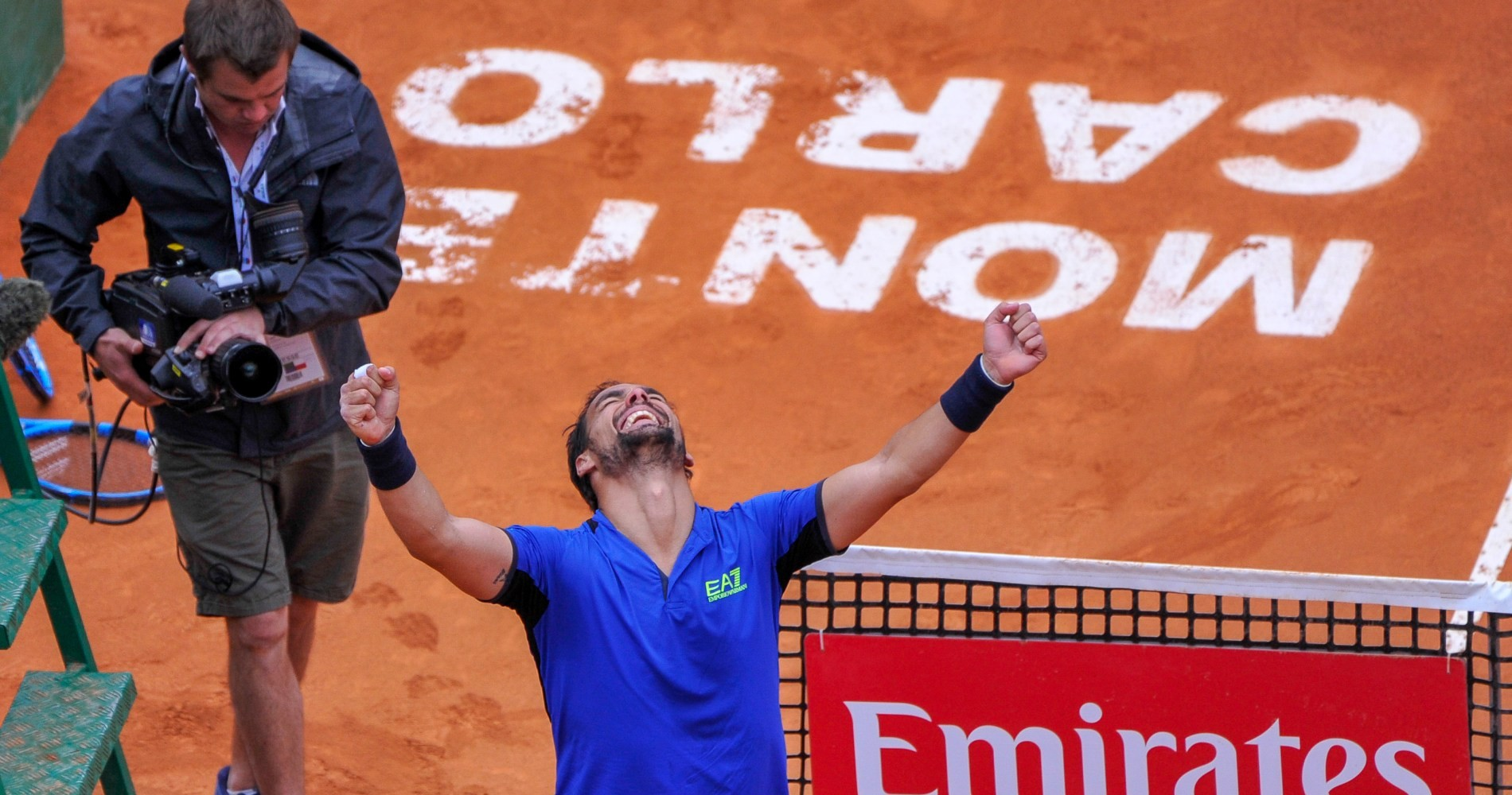 Fabio Fognini celebrates his first Masters 1000 title.