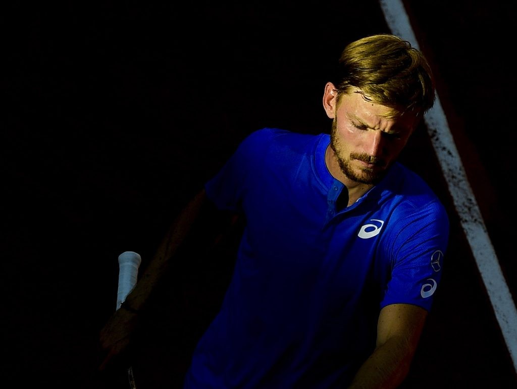 David Goffin playing at 2019 Roland-Garros on clay
