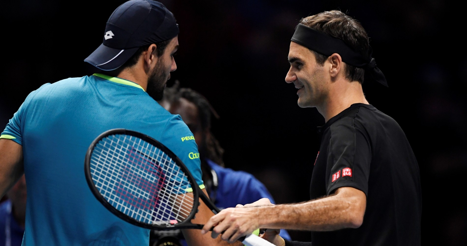 Matteo Berrettini and Roger Federer after their encounter at the 2019 ATP Nitto Finals
