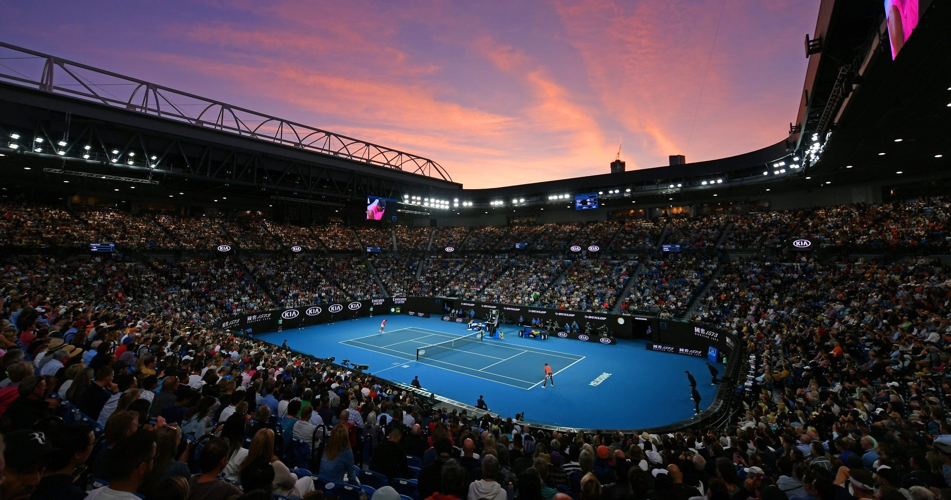 A view of the Rod Laver Arena at sunset