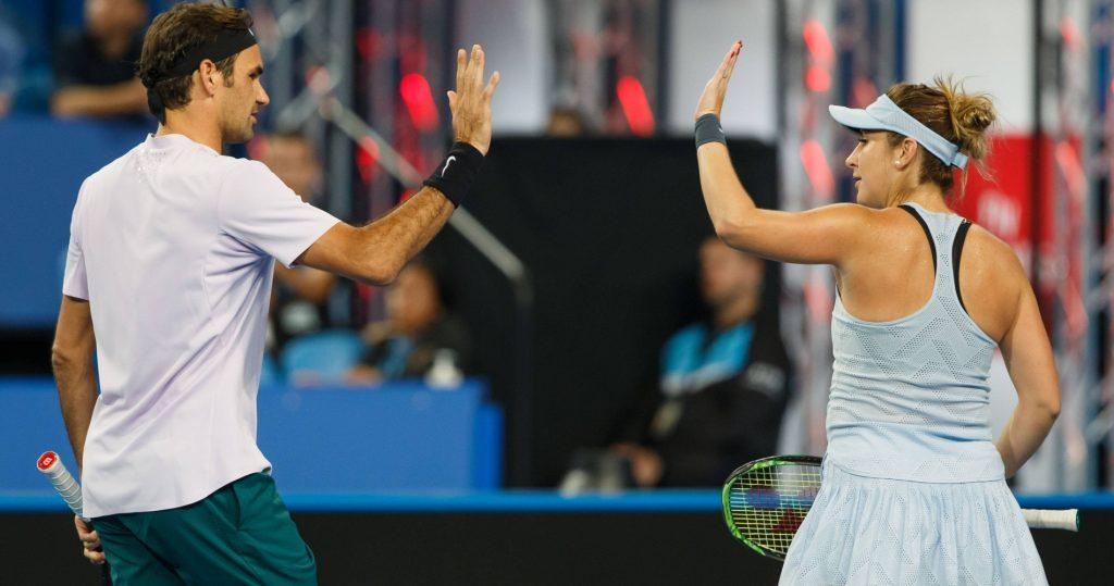 Roger Federer and Belinda Bencic during the 2018 Hopman Cup