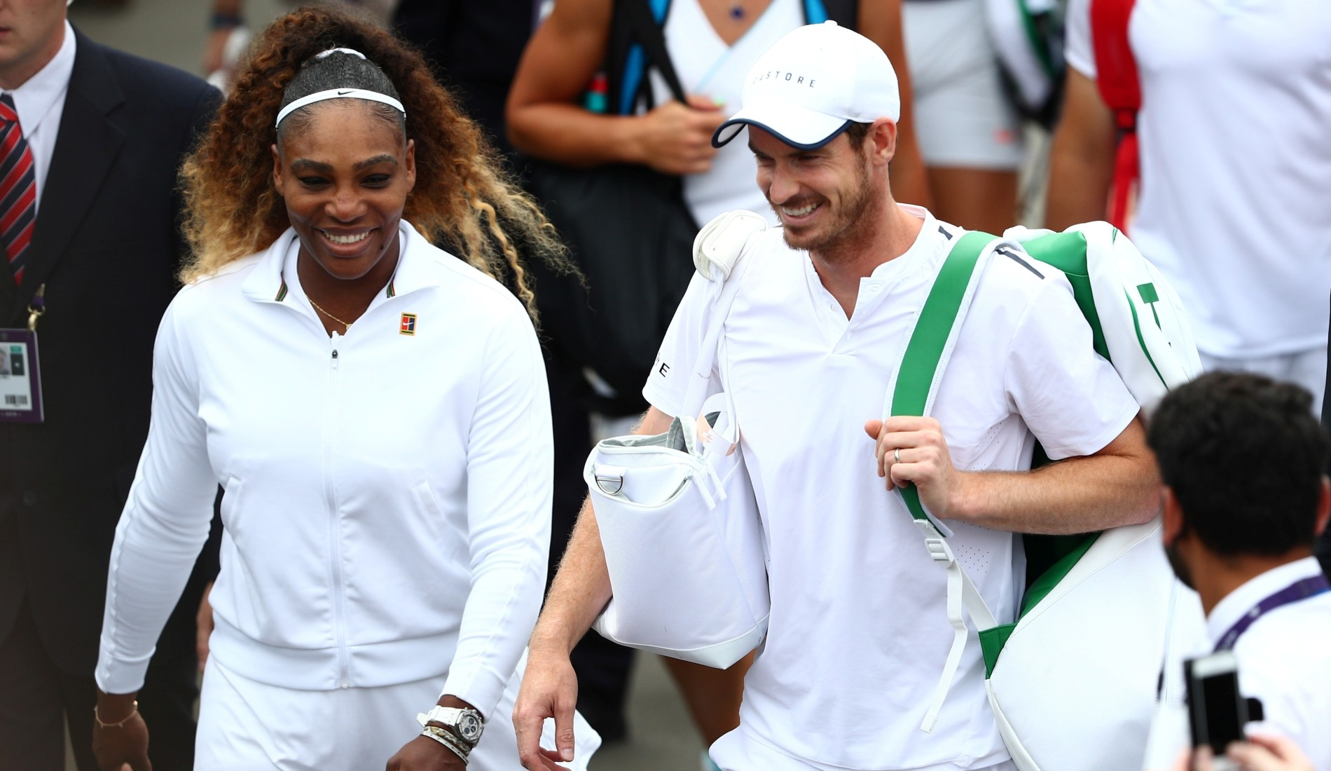 Serena Williams and Andy Murray playing mixed doubles at Wimbledon in 2019