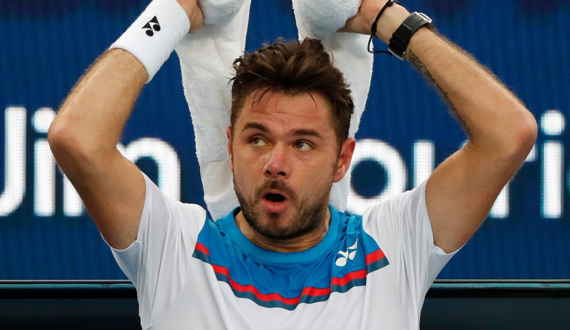 Stan Wawrinka during a change-over at the 2020 Australian Open