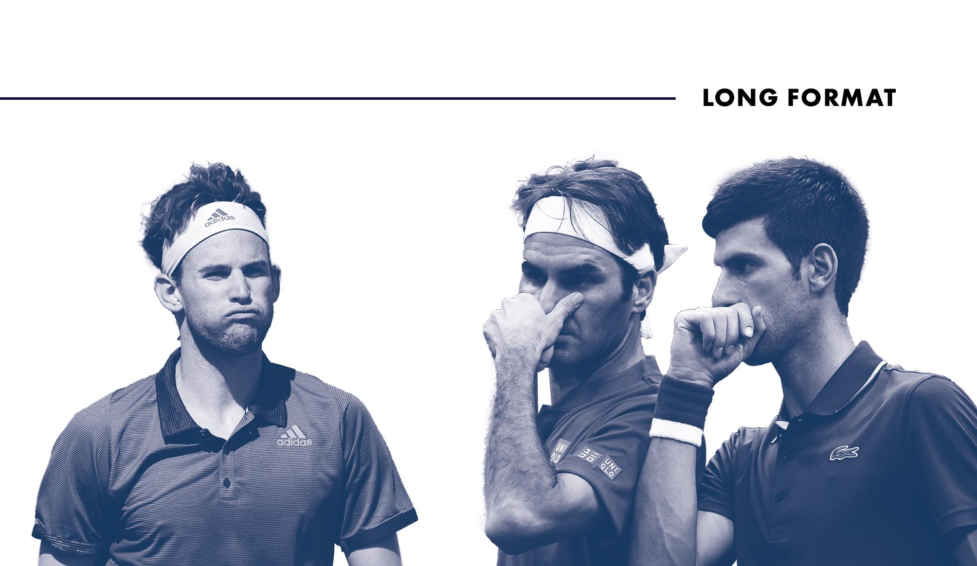 Dominic Thiem, Roger Federer et Novak Djokovic.