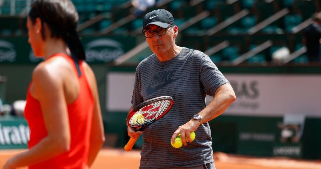 Louis-Paul Garcia, père et coach de Caroline, à Roland-Garros en 2018