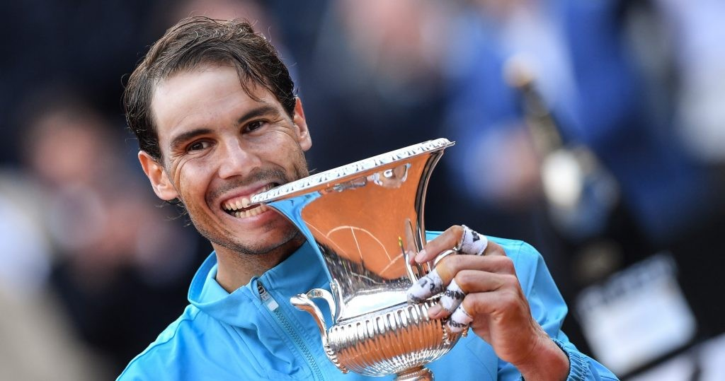 Rafael Nadal with his 2019 Rome trophy
