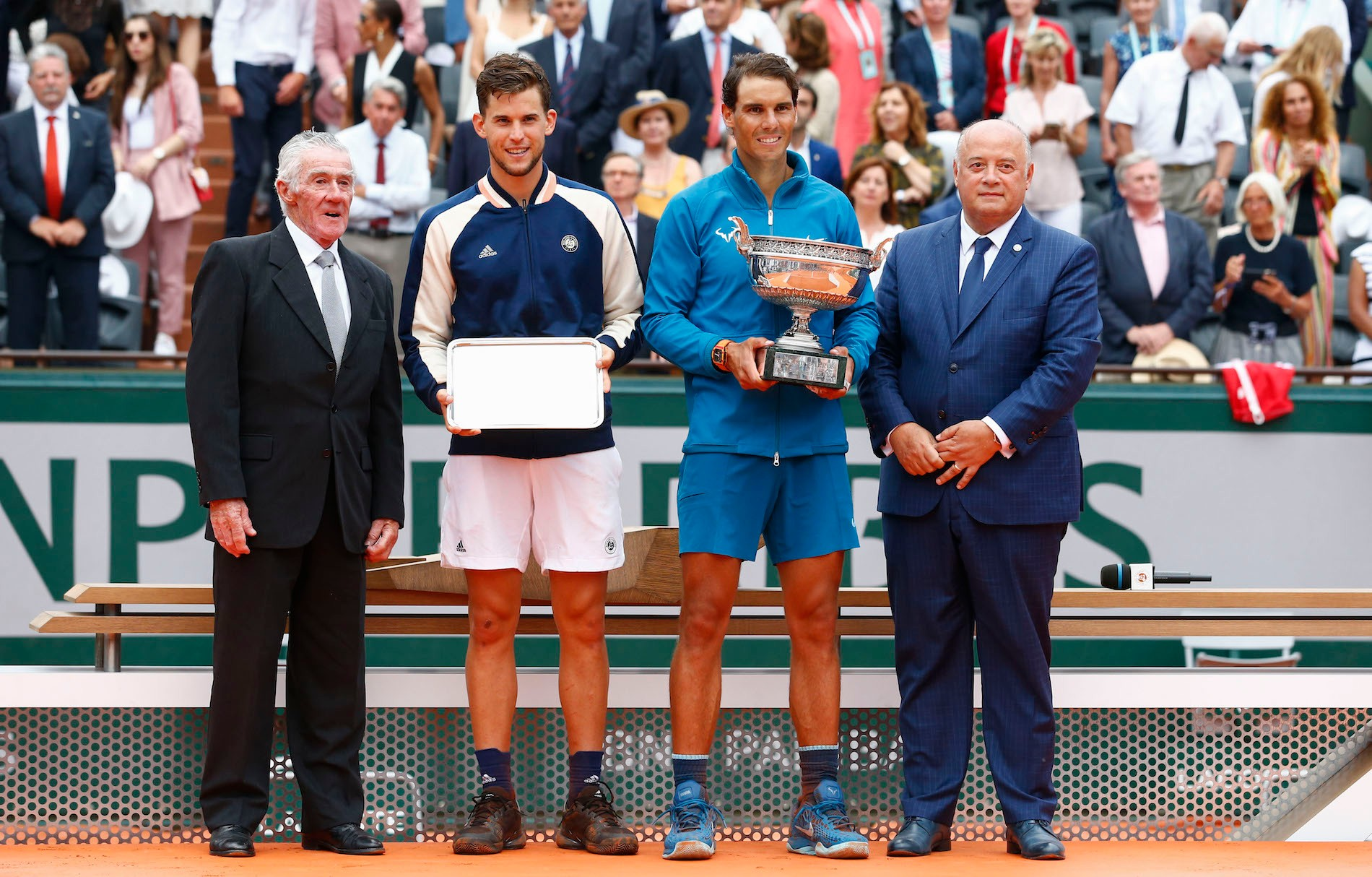 Ken Rosewall, Dominic Thiem, Rafael Nadal, Bernard Giudicelli, Roland-Garros 2019