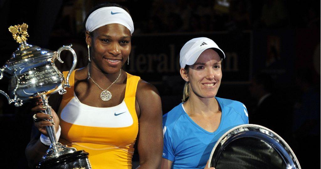 Serena Williams, 2010 Australian Open champion, and runner-up Justine Henin