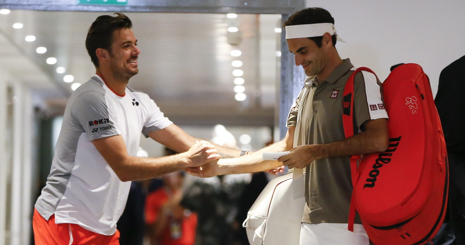 Stan Wawrinka and Roger Federer before their quarter-final encounter during the 2019 French Open