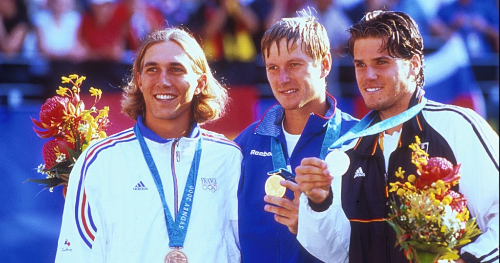 Arnaud Di Pasquale (France), Evgueny Kafelnikov (Russia) and Tommy Haas (Germany), 2000 Olympic Games