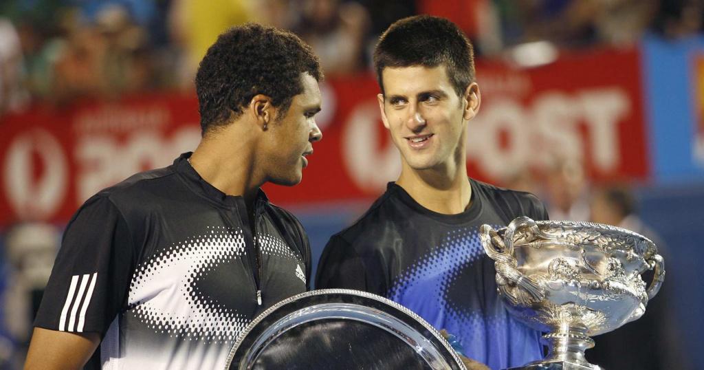 Novak Djokovic and Jo-Wilfried Tsonga in Melbourne in 2008