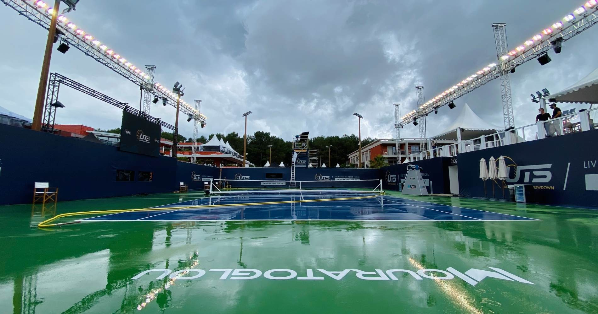 The centre court of the Mouratoglou Academy wet