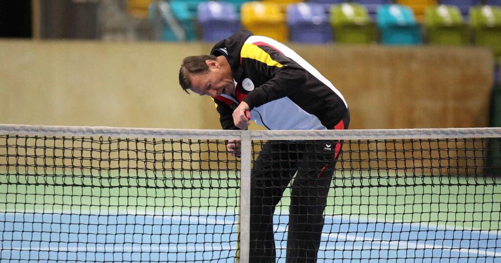 Niki Pilic, entraîneur de l'équipe d'Allemagne de Coupe Davis en 2015