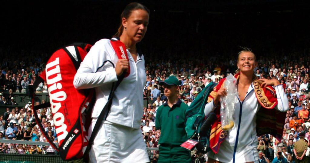 Lindsay Davenport & Maria Sharapova at Wimbledon in 2004