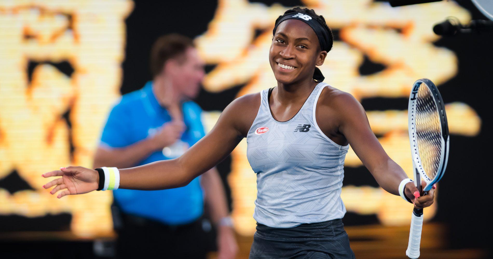 Cori Gauff of the United States after winning her third round match at the 2020 Australian Open Grand Slam tennis tournament against Naomi Osaka of Japan