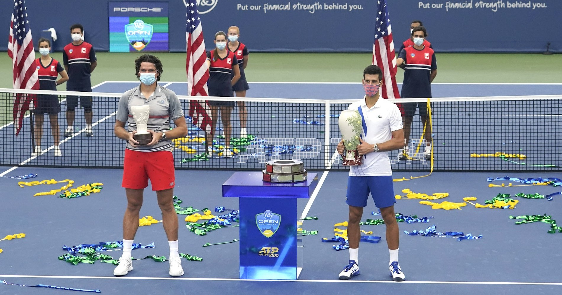 Milos Raonic and Novak Djokovic after 2020 Southern and Western final, New York, August 2020