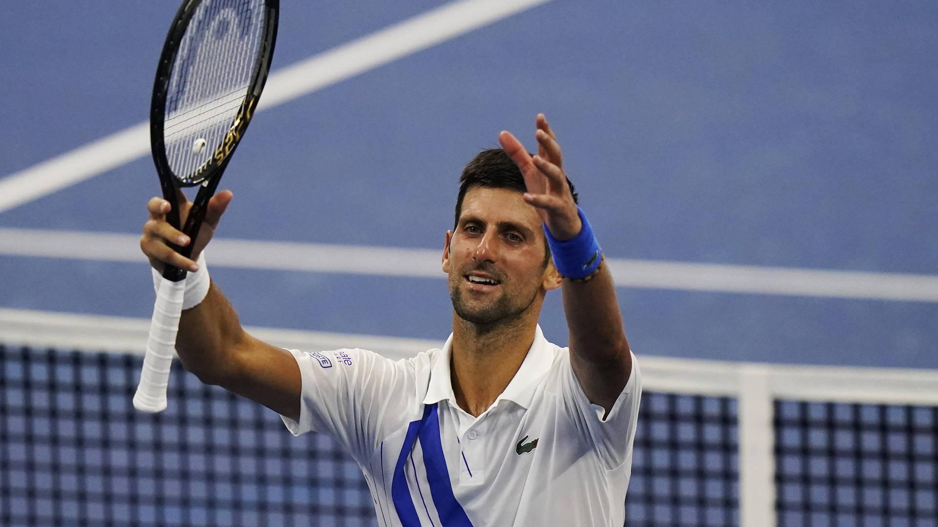 Novak Djokovic, winning a match at Southern and Western Open, August 2020
