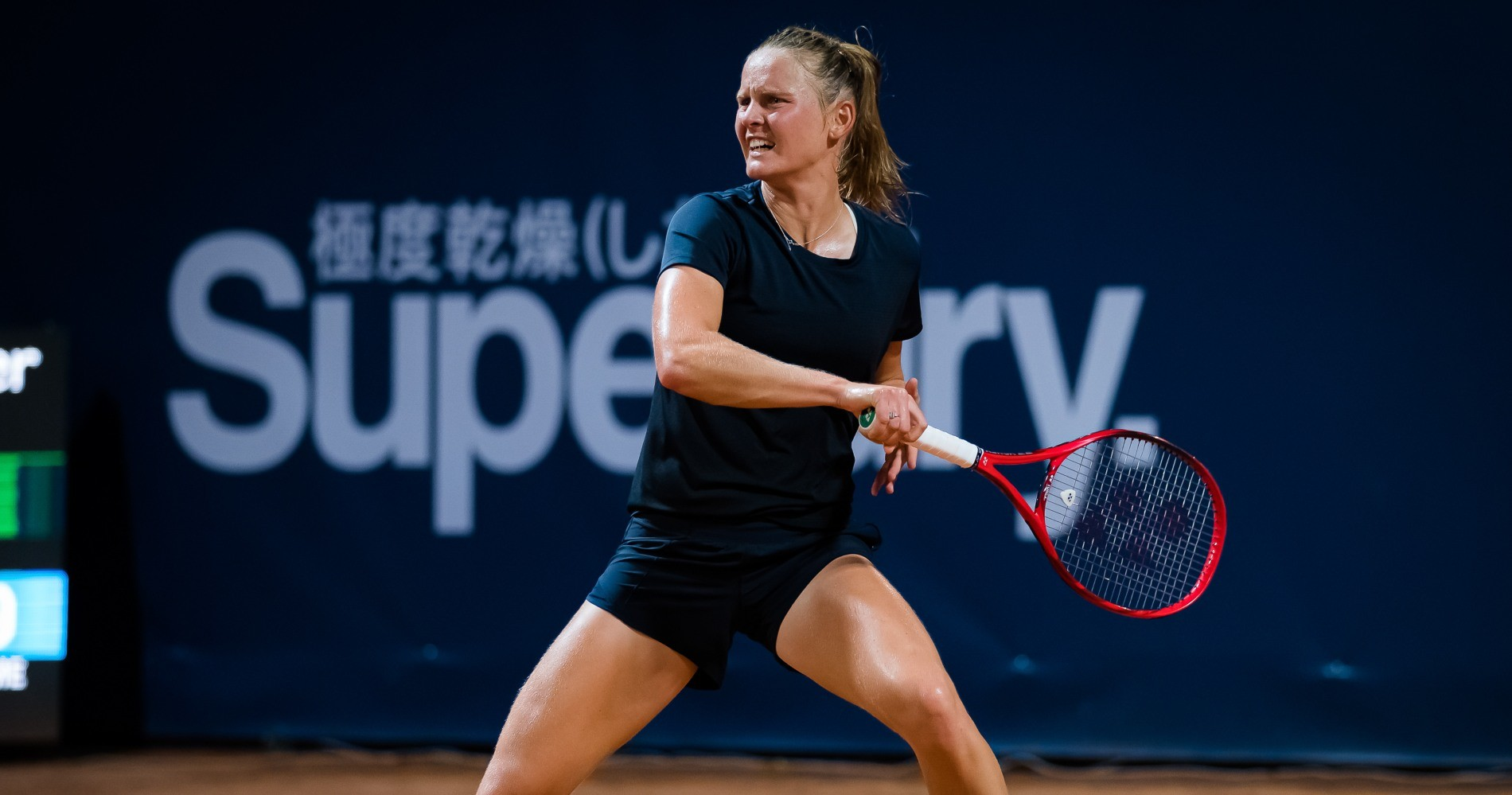 Fiona Ferro of France in action during her quarter-final match against Sara Errani of Italy at the 2020 Palermo Ladies Open WTA International tennis tournament