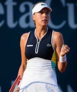 Anett Kontaveit of Estonia in action during the quarter-finals against Elisabetta Cocciaretto of Italy at the 2020 Palermo Ladies Open WTA International tennis tournament