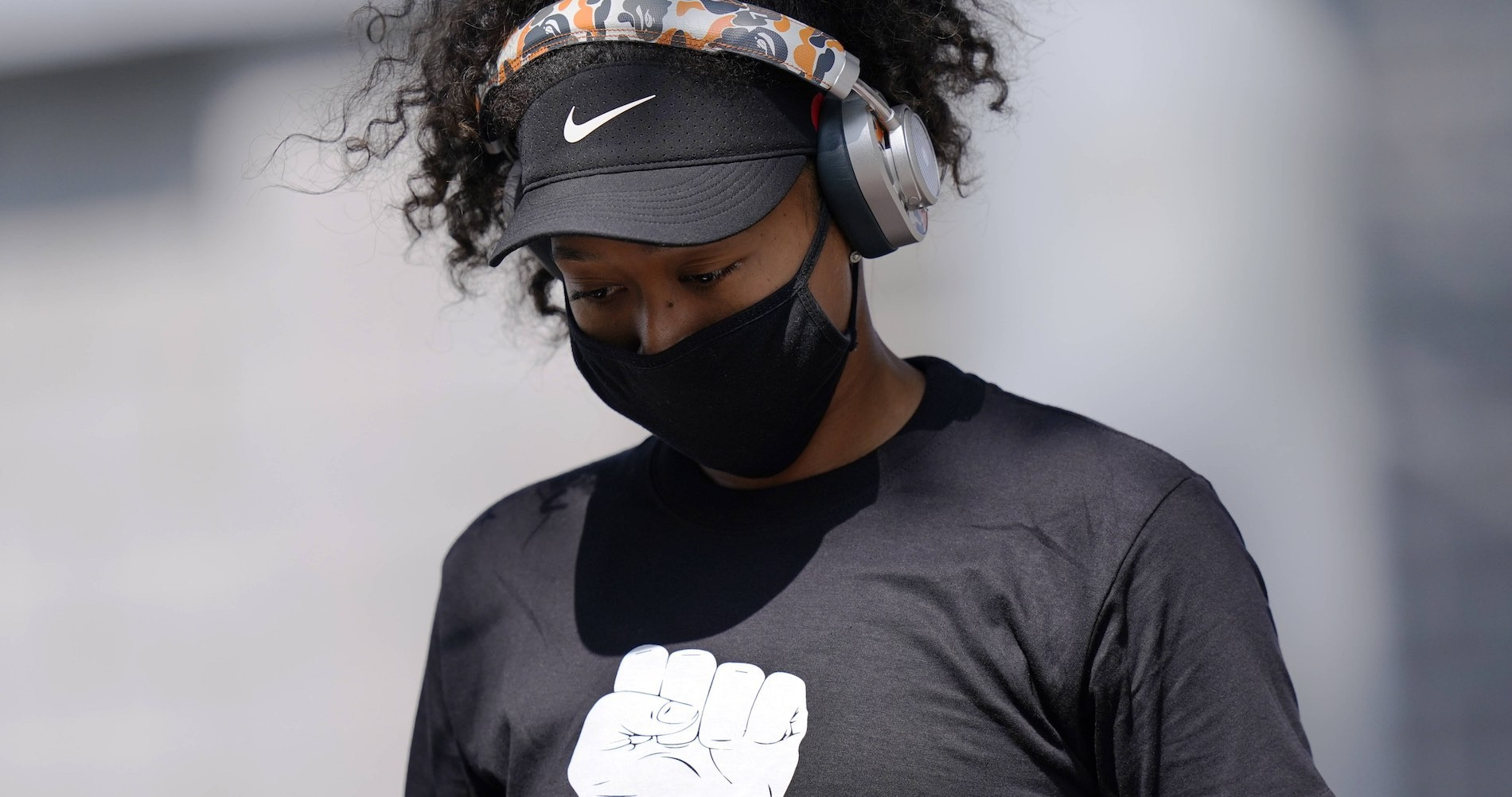 Naomi Osaka during the Western and Southern Open 2020, with a Black Lives Matter shirt