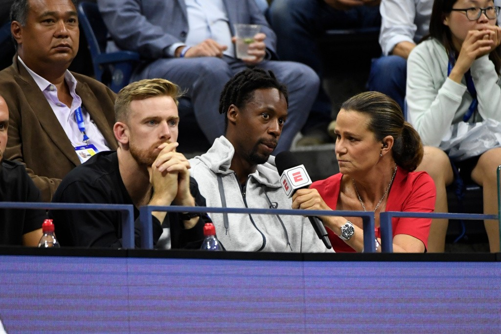 Pam Shriver with Gael Monfils, US Open 2019