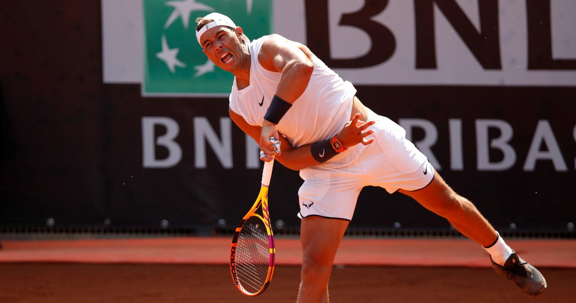 Rafael Nadal, training in Rome, 2020