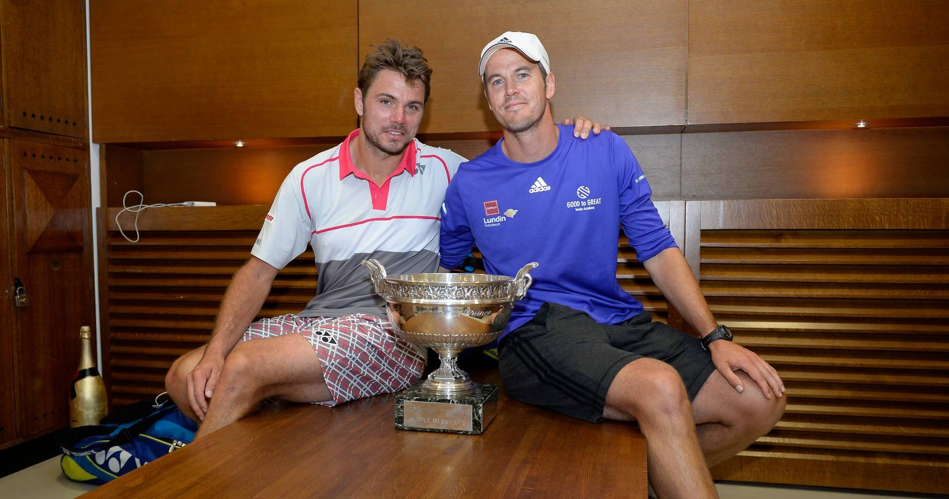 Stan Wawrinka and his coach Magnus Norman, Roland-Garros 2015