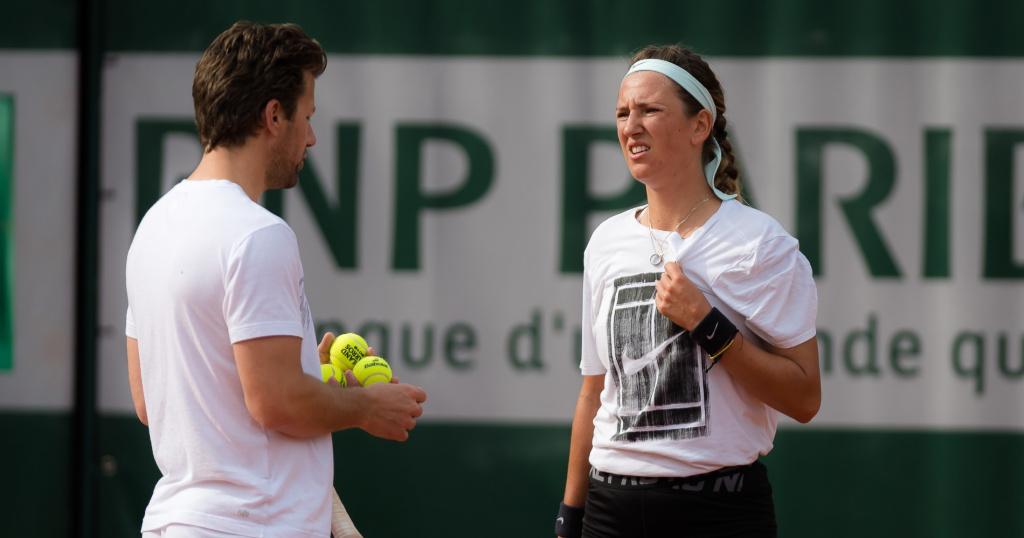 Victoria Azarenka with her coach Wim Fissette, Roland-Garros, 2019
