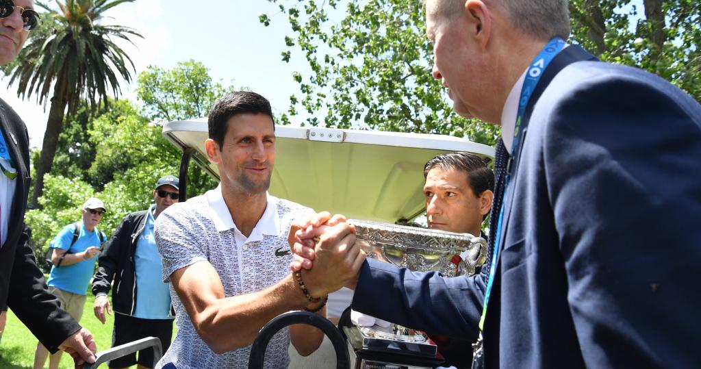 Novak Djokovic, Craig Tiley, Feb. 2020